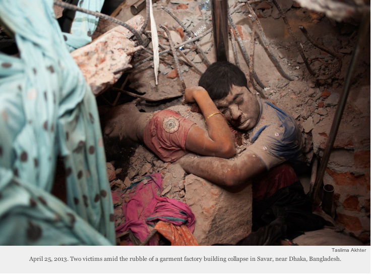 Bangladeshi photographer Taslima Akhter's haunting image of the final embrace, as featured in Time magazine Lightbox.